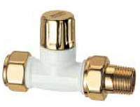 """Запорный вентиль LadyFar 1/2"""", прямой,золото/белая эмаль"""