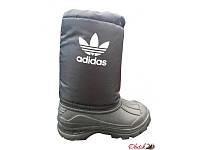 Сапоги дутики подростковые-детские зимние Adidas на меху черные AD0024