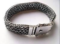 Серебряный мужской плетёный браслет, ручная работа!!!