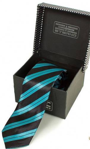 Привлекательный узкий шелковый галстук  ETERNO (ЭТЕРНО) EG617 черный