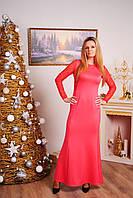 Длинное платье с гипюровой спиной коралл, фото 1