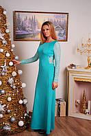 Длинное платье с гипюровой спиной мята, фото 1