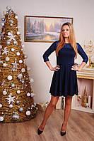 Платье женское до колена темно-синее, фото 1
