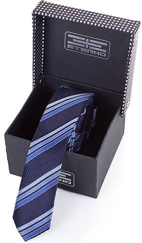 Особенный шелковый узкий галстук  ETERNO (ЭТЕРНО) EG656 синий