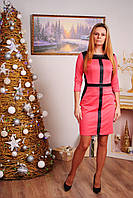 Платье женское с вставками коралл, фото 1