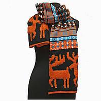 Вязанный шарф со снежинками и оленями