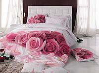 Двуспальное постельное бельё 200х220 Cotton box 3D Ранфорс DARLING PEMBE, розовые розы.