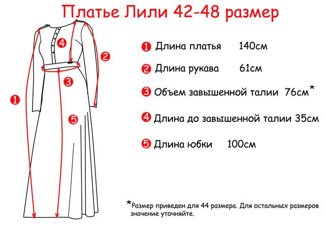 Основные замеры Платья в пол длинного Лили PlDlLl28-1