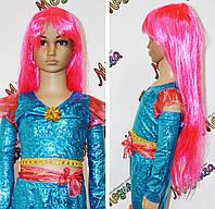 Карнавальный парик розовый прямой