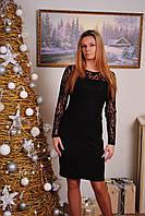 Платье короткое с гипюровой спиной черное, фото 1