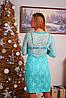 Платье до колена с гипюровой спиной мята