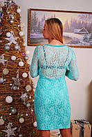 Платье до колена с гипюровой спиной мята, фото 1