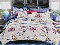 Набор постельного белья 200х220 Valtery сатин C-187 кремовый с синими цветами