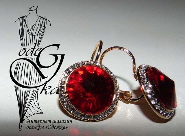 Фото-1 Красивых сережек с красным камнем с английским замком Рубин SrgRbN30