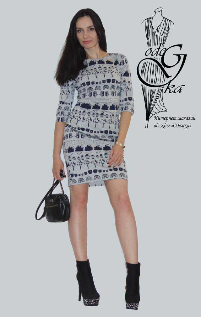 Фото-1 Короткого платья с рукавами 3/4 Мона PlMn66/2