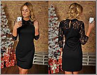 Черное облегающее платье из гипюра