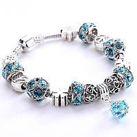 Женский браслет Pandora (Пандора) голубой с шариком