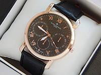 Мужские кварцевые наручные часы Vacheron Constantin на кожаном ремешке