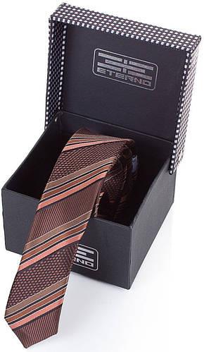 Идеальный шелковый узкий галстук  ETERNO (ЭТЕРНО) EG654 коричневый