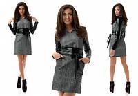 Женское твидовое платье со вставка из эко-кожи деловой стиль