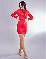 Стильное женское платье насыщенного яркого цвета