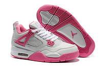 Женские кроссовки Air Jordan Retro 4 White Pink