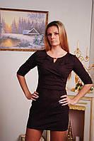 Платье короткое с узором коричневое, фото 1
