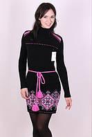 Вязаное платье Орнамент яркий розовый
