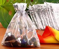Мешочек для подарков с затяжкой, органза, серебристый цвет, размер 12 х 10 см