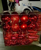 Набор новогодних шаров Красные 100 шт