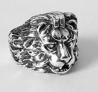 Серебряное мужское кольцо Лев, перстень печатка львом из серебра 925