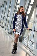 Вязаное платье Зимний узор белый