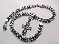 Комплект серебряная цепь кардинал и крест православный с чернением