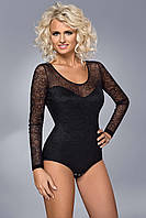 Женская блуза-боди черного цвета с гипюром и длинным рукавом. Модель BDV 039 Gaia, осень-зима 2015-2016