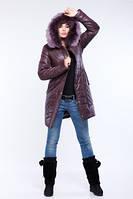 Зимнее пальто пуховик с натуральным мехом песца или кролика
