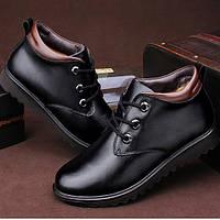 Мужские зимние кожаные ботинки классического стиля