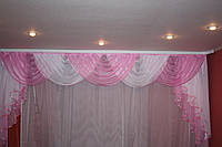 Ламбрикен розово-белый  3 м-3,5 м