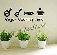 """Наклейка на стену, украшения стены наклейки для кухни """"Enjoy cooking time"""" (лист51*20см)"""