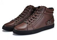 Мужские зимние ботинки-кеды из натуральной кожи