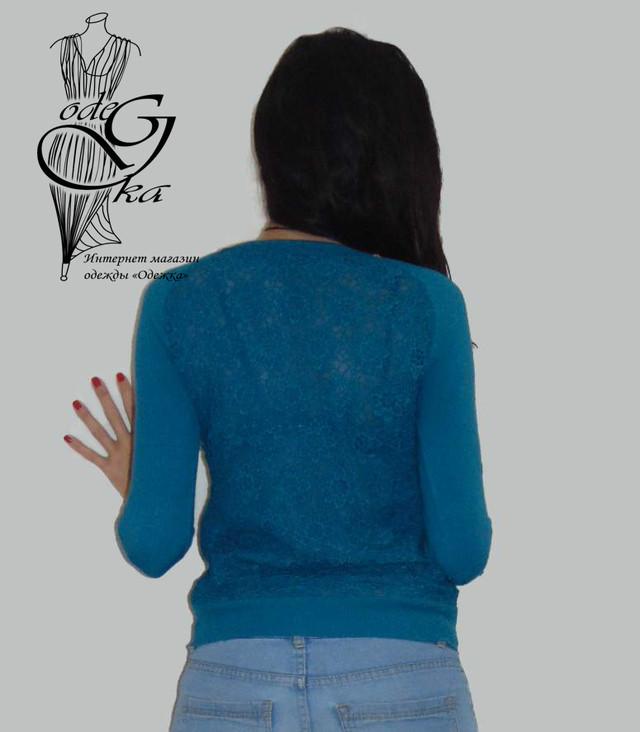 Фото-1 Женского пуловера черного цвета с украшенной камнями горловинкой и ажурной спинкой Лилиана SvLl215