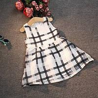 Детское платье  нарядное клетка черно-белая