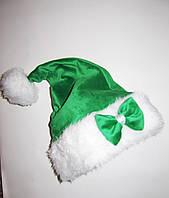 Новогодняя шапка Эльфа , гнома Детская зеленая с бантом