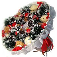Букет из мягких игрушек Мишки 15 новогодний