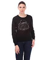 Молодежная кофта черного цвета с нашивкой из экокожи, фото 1