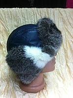 Мужская стильная  ушанка из синей плащёвки и меха  кролика
