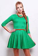 Красивое короткое зеленое платье на молнии сзади