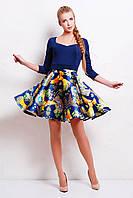 Нарядное синее платье с пышной юбкой на молнии сзади