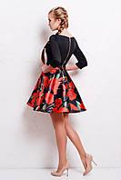 Нарядное цветное платье с пышной юбкой на молнии сзади