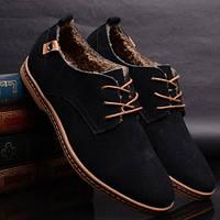 Мужские замшевые зимние ботинки-туфли
