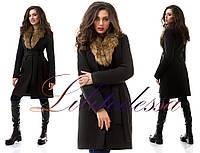 Зимнее пальто с меховым воротником чёрный